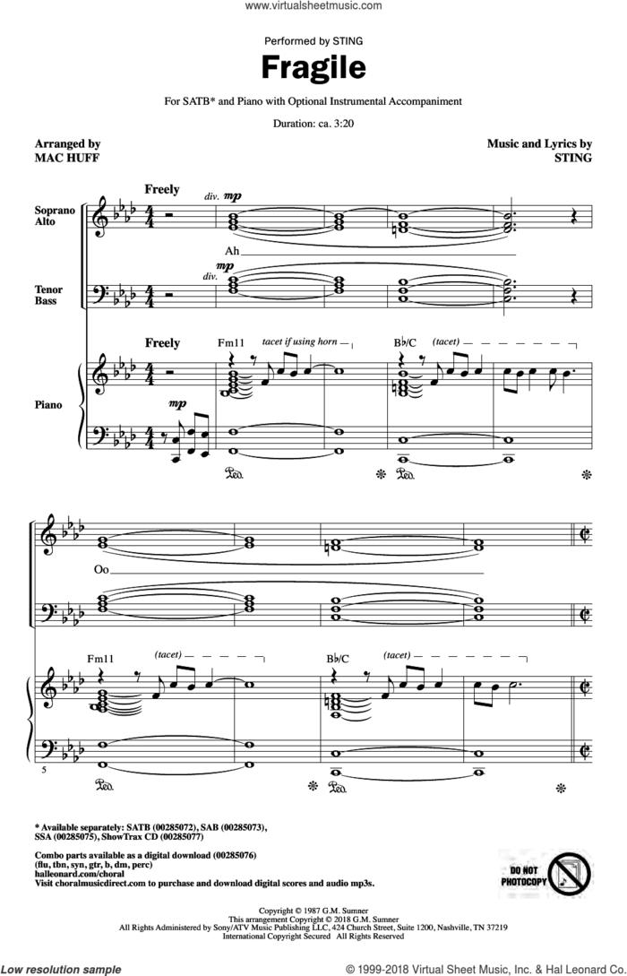 Fragile (arr. Mac Huff) sheet music for choir (SATB: soprano, alto, tenor, bass) by Sting and Mac Huff, intermediate skill level