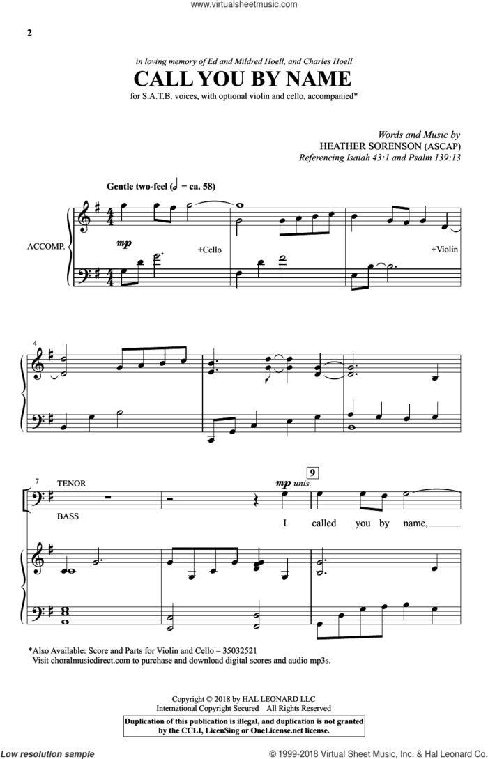 Call You By Name sheet music for choir (SATB: soprano, alto, tenor, bass) by Heather Sorenson, intermediate skill level
