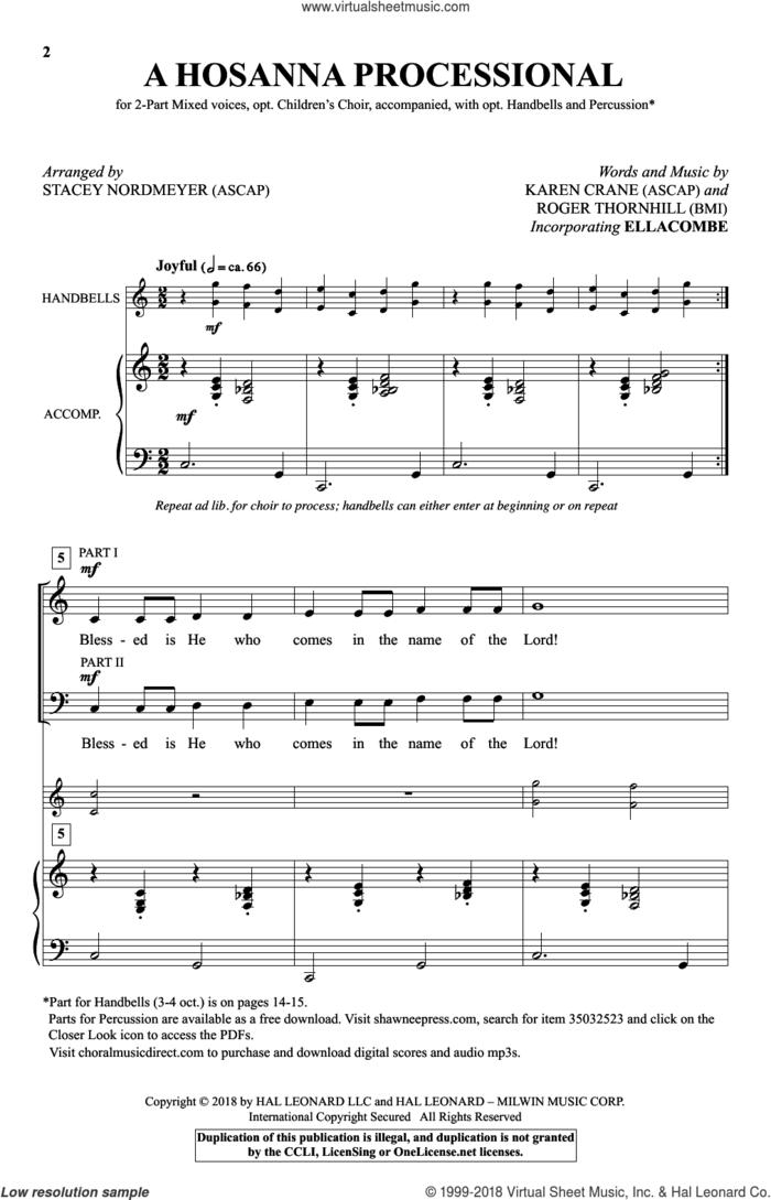 A Hosanna Processional (arr. Stacey Nordmeyer) sheet music for choir (2-Part) by Roger Thornhill, Stacey Nordmeyer, Karen Crane and Karen Crane & Roger Thornhill, intermediate duet