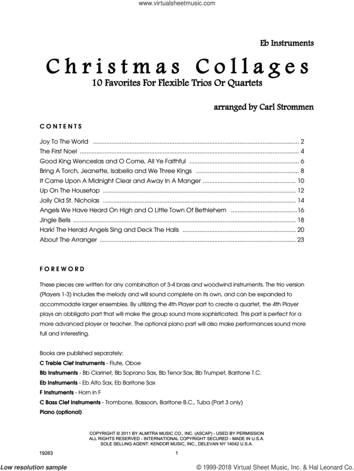 Christmas Collages - Eb Instruments sheet music for wind ensemble (Eb instruments) by Carl Strommen, intermediate skill level
