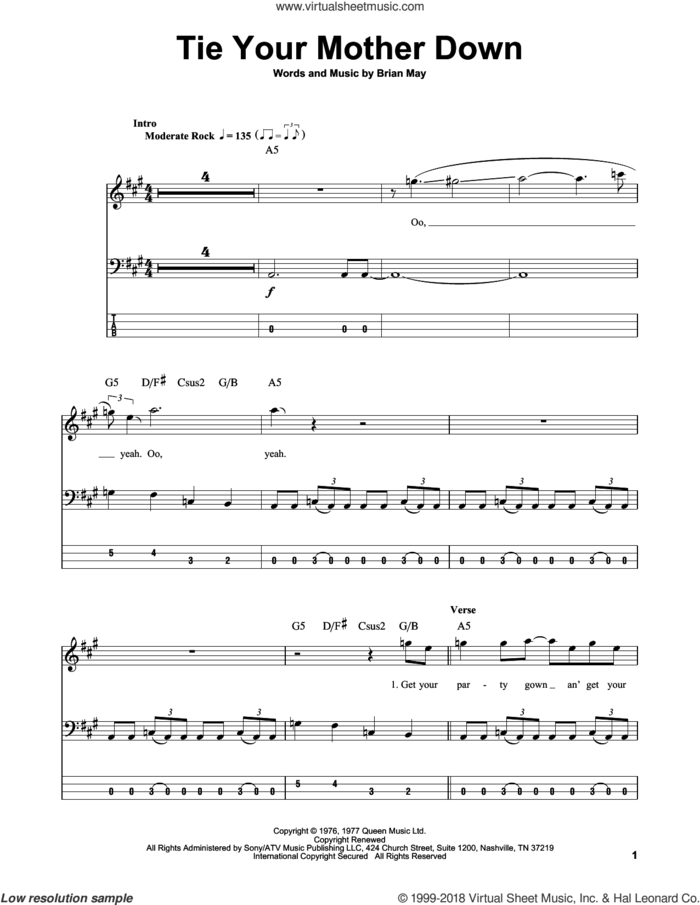 Tie Your Mother Down sheet music for bass (tablature) (bass guitar) by Queen and Brian May, intermediate skill level