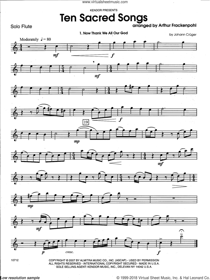 Ten Sacred Songs (complete set of parts) sheet music for flute and piano by Arthur Frackenpohl and Miscellaneous, intermediate skill level