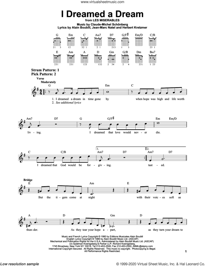 I Dreamed A Dream sheet music for guitar solo (chords) by Alain Boublil, Susan Boyle, Claude-Michel Schonberg, Claude-Michel Schonberg, Herbert Kretzmer and Jean-Marc Natel, easy guitar (chords)