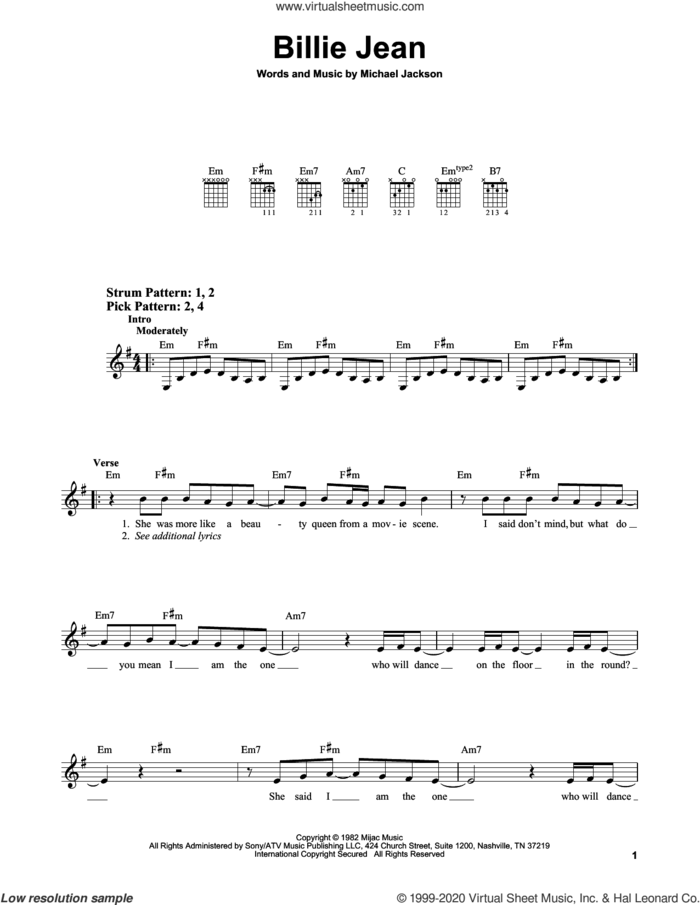 Billie Jean sheet music for guitar solo (chords) by Michael Jackson, easy guitar (chords)