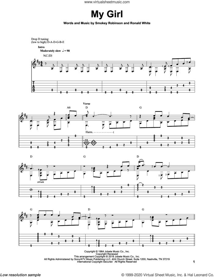 My Girl sheet music for guitar solo by The Temptations, Mark Hanson and Ronald White, intermediate skill level