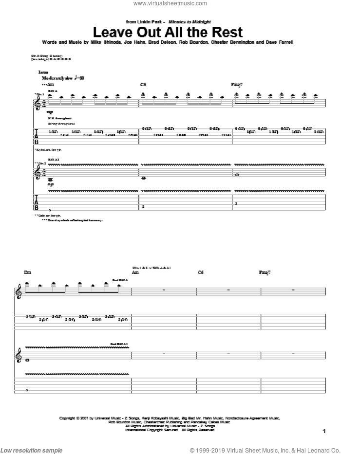 Leave Out All The Rest sheet music for guitar (tablature) by Linkin Park, Twilight (Movie), Brad Delson, Chester Bennington, Dave Farrell, Joe Hahn, Mike Shinoda and Rob Bourdon, intermediate skill level