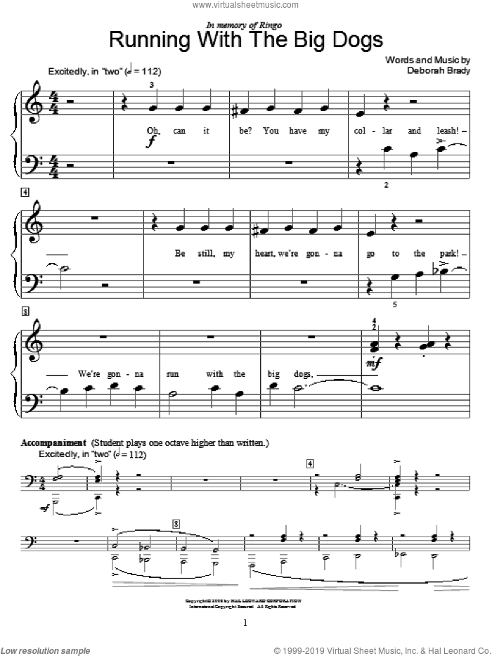Running With The Big Dogs sheet music for piano solo (elementary) by Deborah Brady and Miscellaneous, beginner piano (elementary)