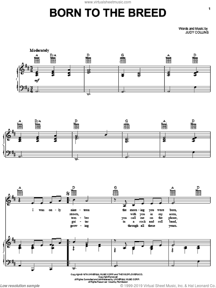 Born To The Breed sheet music for voice, piano or guitar by Judy Collins, intermediate skill level