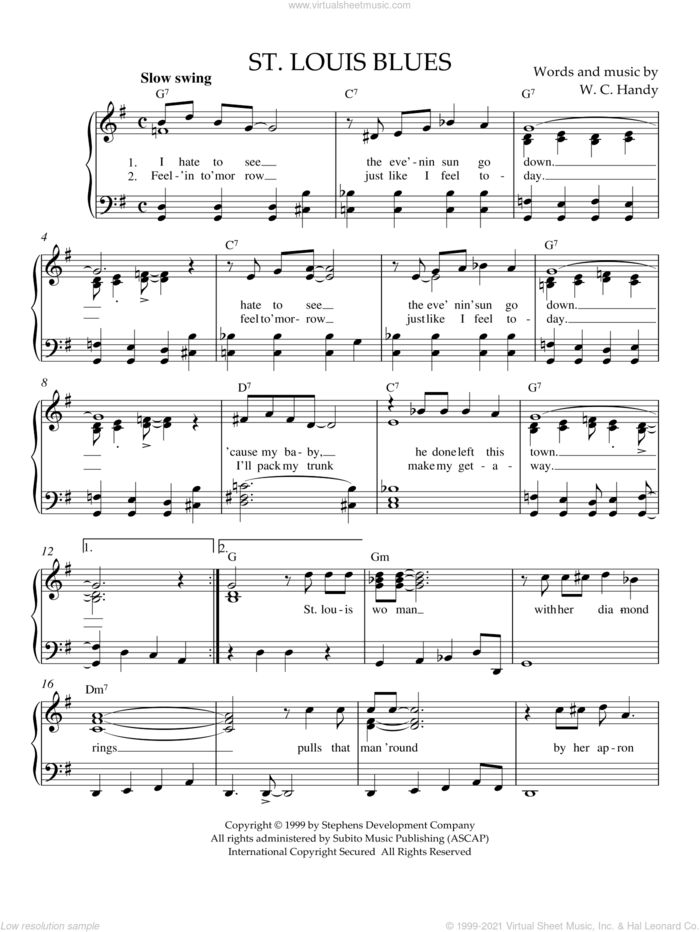 St. Louis Blues sheet music for piano solo by W.C. Handy, Bessie Smith and Louis Armstrong, easy skill level
