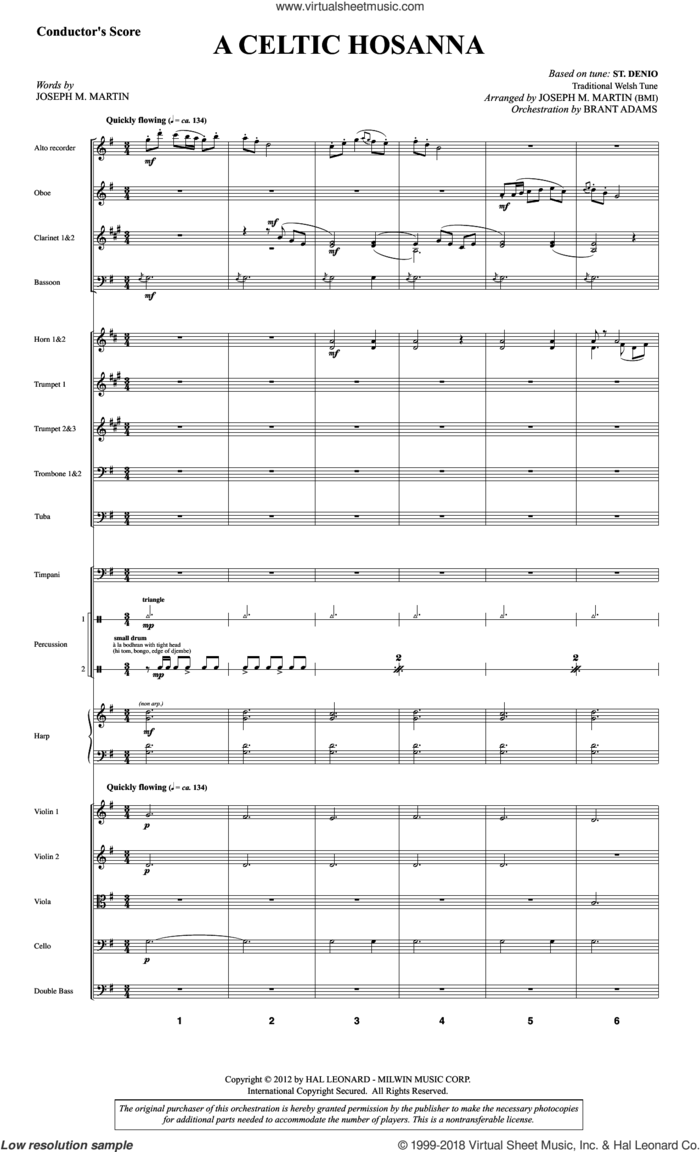 A Celtic Hosanna (COMPLETE) sheet music for orchestra/band by Joseph M. Martin and Traditional Welsh Tune, intermediate skill level