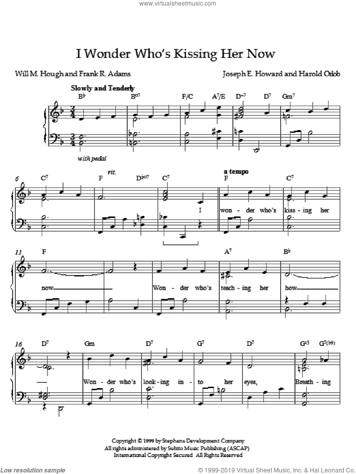 I Wonder Who's Kissing Her Now sheet music for piano solo by Joseph E. Howard and Orlob, intermediate skill level
