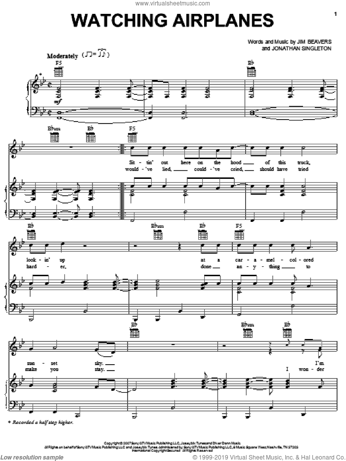 Watching Airplanes sheet music for voice, piano or guitar by Gary Allan, Jim Beavers and Jonathan Singleton, intermediate skill level