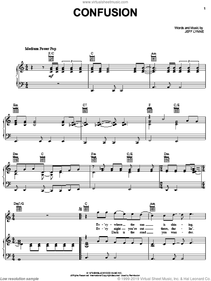 Confusion sheet music for voice, piano or guitar by Electric Light Orchestra and Jeff Lynne, intermediate skill level