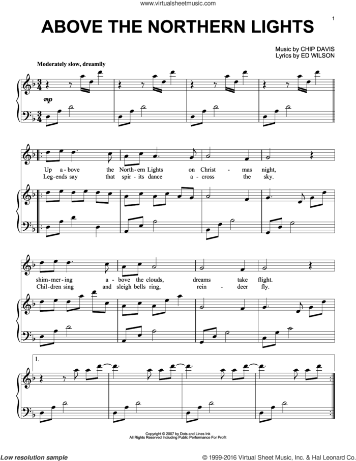 Above The Northern Lights sheet music for piano solo by Mannheim Steamroller, Chip Davis and Ed Wilson, intermediate skill level