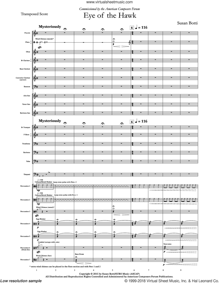 Eye of the Hawk (complete set of parts) sheet music for concert band by Susan Botti, intermediate skill level