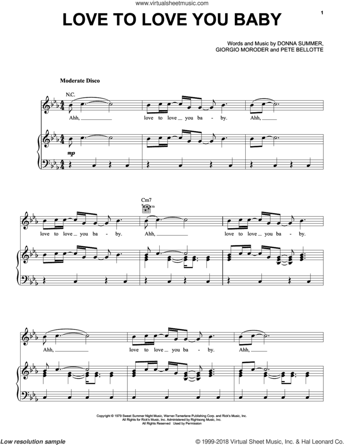 Love To Love You Baby sheet music for voice, piano or guitar by Donna Summer, Giorgio Moroder and Pete Bellotte, intermediate skill level