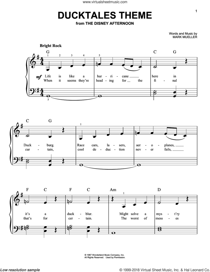 DuckTales Theme sheet music for piano solo by Mark Mueller, easy skill level