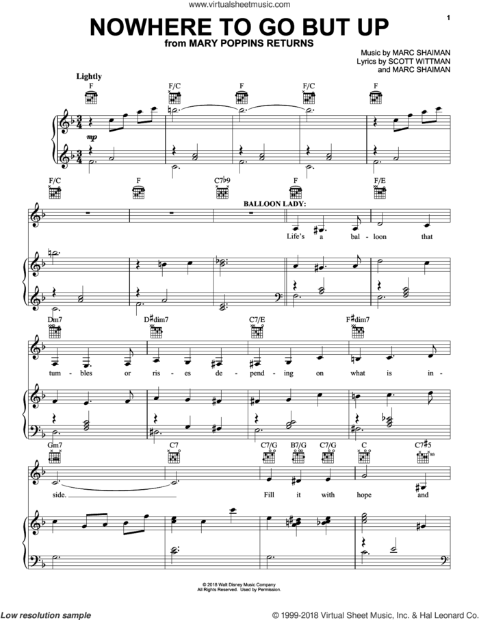 Nowhere To Go But Up (from Mary Poppins Returns) sheet music for voice, piano or guitar by Angela Lansbury & Company, Marc Shaiman and Scott Wittman, intermediate skill level