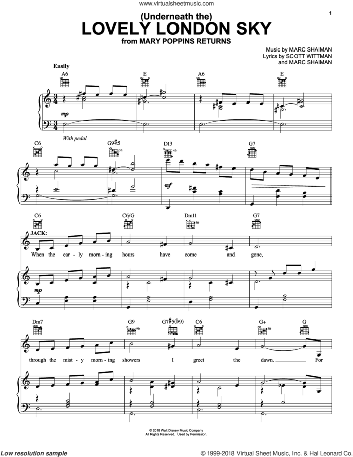 (Underneath The) Lovely London Sky (from Mary Poppins Returns) sheet music for voice, piano or guitar by Lin-Manuel Miranda, Marc Shaiman and Scott Wittman, intermediate skill level