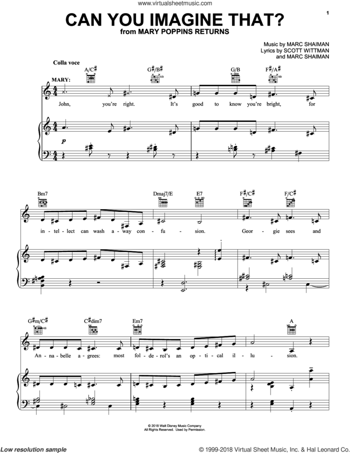 Can You Imagine That? (from Mary Poppins Returns) sheet music for voice, piano or guitar by Emily Blunt & Company, Marc Shaiman and Scott Wittman, intermediate skill level
