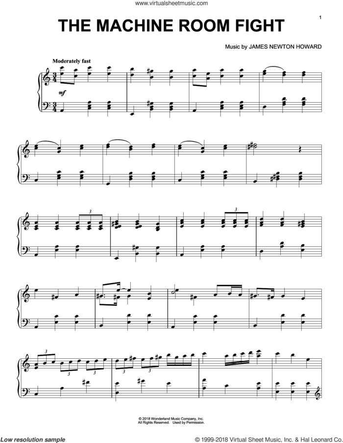 The Machine Room Fight (from The Nutcracker and The Four Realms) sheet music for piano solo by Pyotr Ilyich Tchaikovsky and James Newton Howard, intermediate skill level