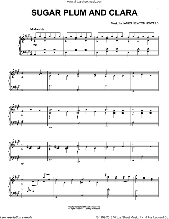 Sugar Plum And Clara (from The Nutcracker and The Four Realms) sheet music for piano solo by Pyotr Ilyich Tchaikovsky and James Newton Howard, intermediate skill level