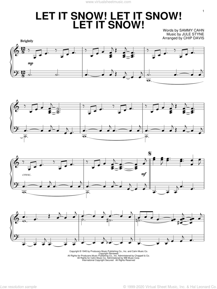 Let It Snow! Let It Snow! Let It Snow! sheet music for piano solo by Mannheim Steamroller, Chip Davis, Jule Styne and Sammy Cahn, intermediate skill level