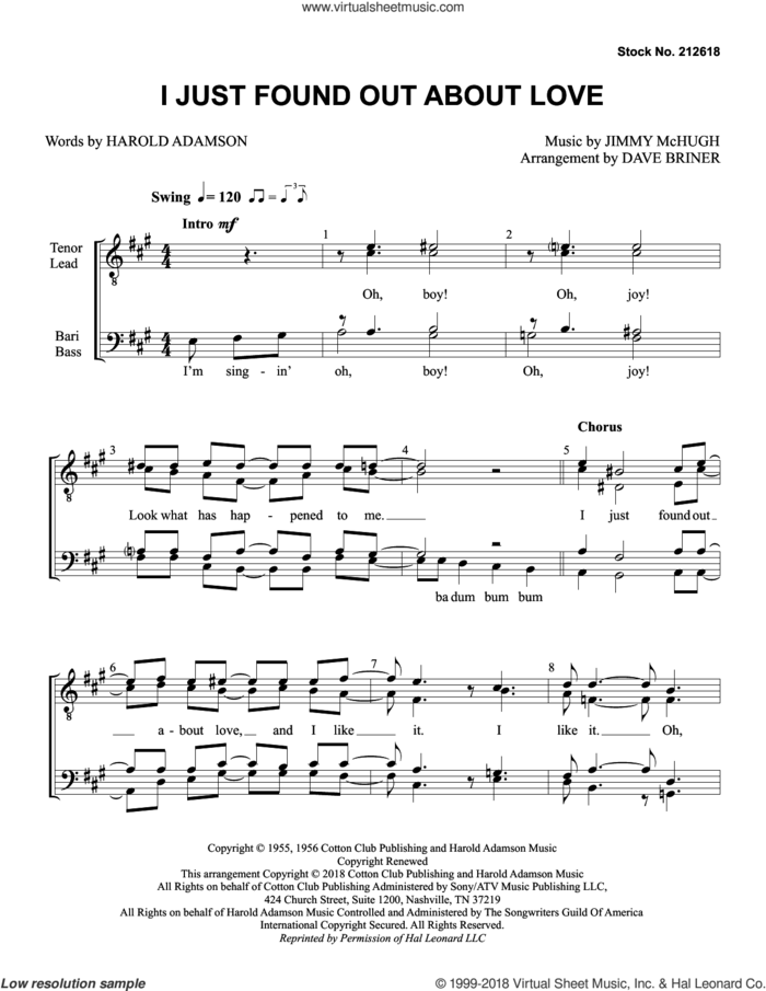 I Just Found out About Love (arr. Dave Briner) sheet music for choir (TTBB: tenor, bass) by Nat King Cole, Dave Briner, Harold Adamson and Jimmy McHugh, intermediate skill level