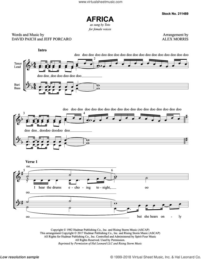 Africa (arr. Alex Morris) sheet music for choir (SSAA: soprano, alto) by Toto, Alex Morris, David Paich and Jeff Porcaro, intermediate skill level