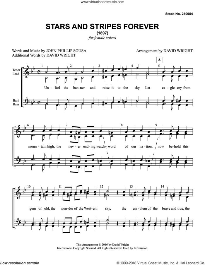 The Stars and Stripes Forever (arr. David Wright) sheet music for choir (SSAA: soprano, alto) by John Philip Sousa and David Wright, intermediate skill level
