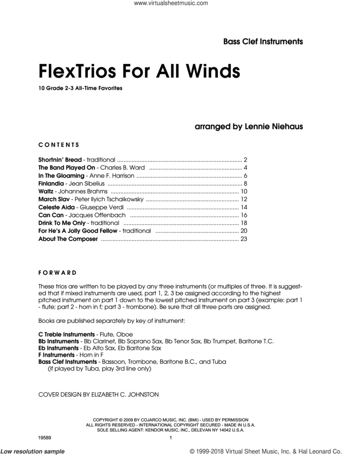 FlexTrios For All Winds (Bass Clef Instruments) sheet music for wind ensemble (bass instruments) by Lennie Niehaus, intermediate skill level