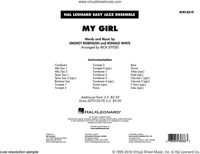 My Girl (arr. Rick Stitzel) (COMPLETE) sheet music for jazz band by The Temptations, Rick Stitzel and Ronald White, intermediate skill level