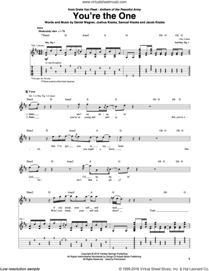 You're The One sheet music for guitar (tablature) by Greta Van Fleet, Daniel Wagner, Jacob Kiszka, Joshua Kiszka and Samuel Kiszka, intermediate skill level