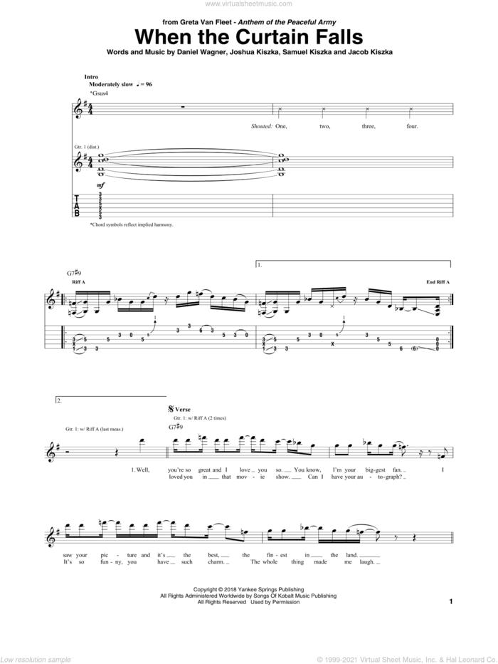 When The Curtain Falls sheet music for guitar (tablature) by Greta Van Fleet, Daniel Wagner, Jacob Kiszka, Joshua Kiszka and Samuel Kiszka, intermediate skill level