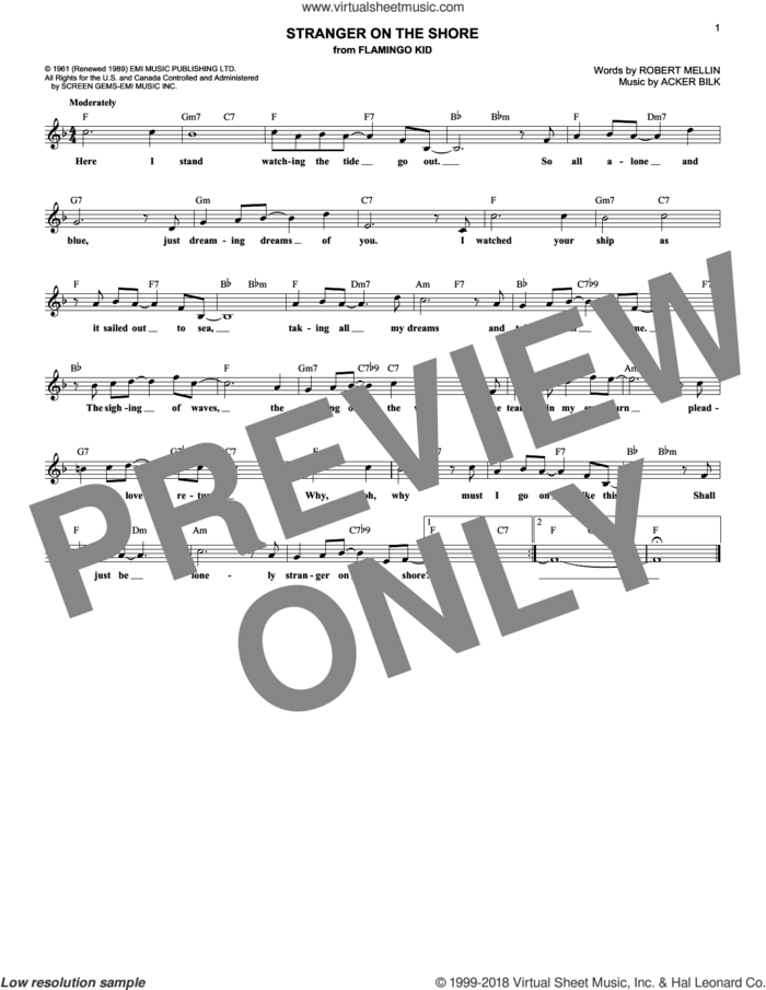 Stranger On The Shore sheet music for voice and other instruments (fake book) by Acker Bilk and Robert Mellin, intermediate skill level