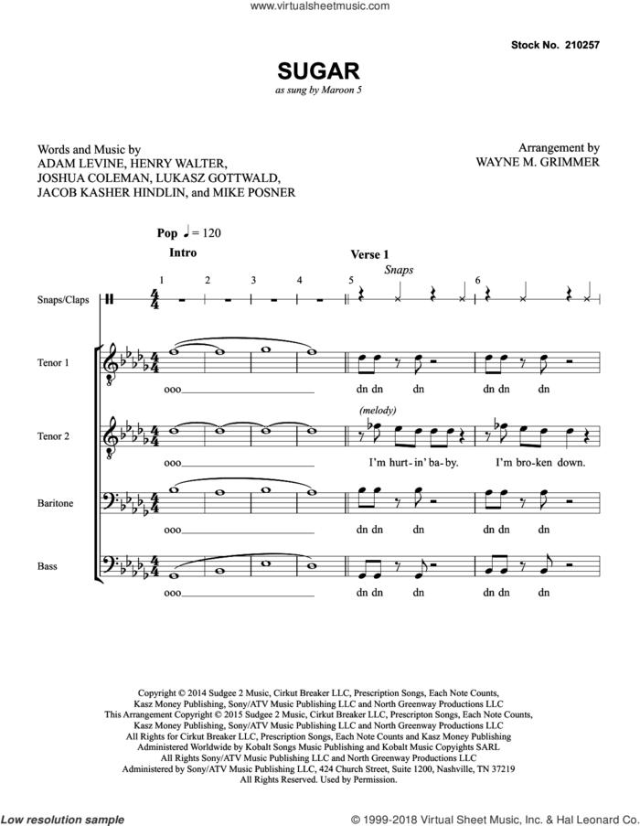 Sugar (arr. Wayne Grimmer) sheet music for choir (TTBB: tenor, bass) by Maroon 5, Wayne Grimmer, Adam Levine, Henry Walter, Jacob Kasher Hindlin, Joshua Coleman, Lukasz Gottwald and Mike Posner, intermediate skill level