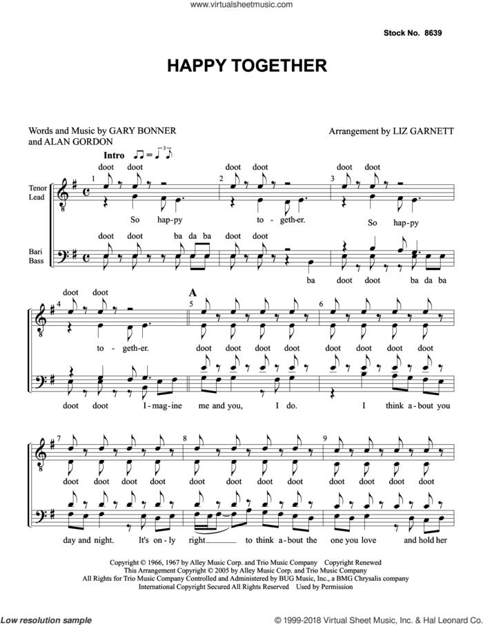 Happy Together (arr. Liz Garnett) sheet music for choir (TTBB: tenor, bass) by The Turtles, Liz Garnett, Alan Gordon and Garry Bonner, intermediate skill level