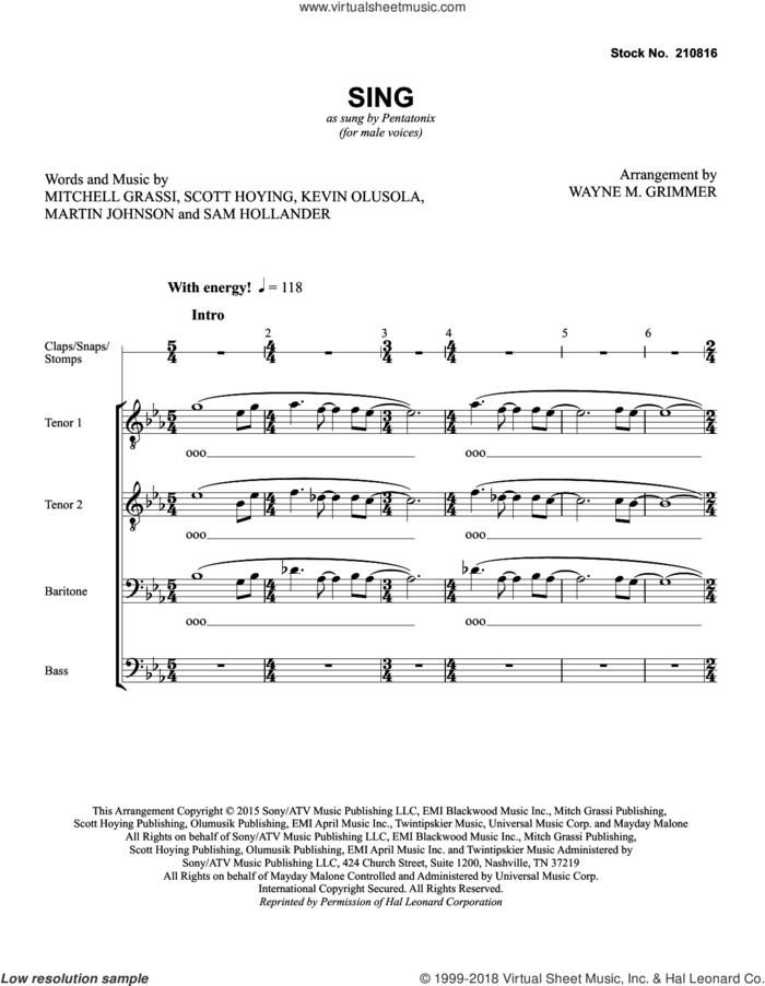 Sing (arr. Wayne Grimmer) sheet music for choir (TTBB: tenor, bass) by Pentatonix, Wayne Grimmer, Kevin Olusola, Martin Johnson, Mitchell Grassi, Sam Hollander and Scott Hoying, intermediate skill level