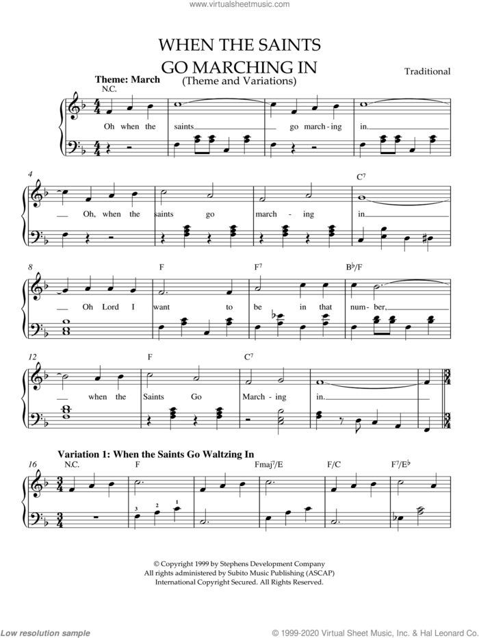 When The Saints Go Marching In (Theme and Variations) sheet music for piano solo, easy skill level