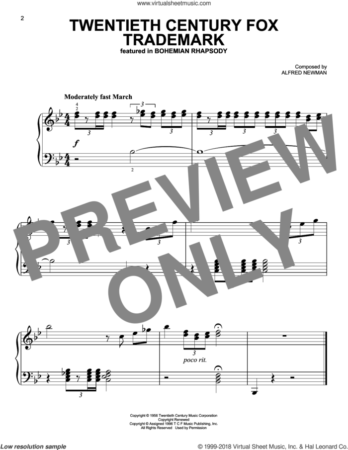 Twentieth Century Fox Trademark sheet music for piano solo by Queen, Freddie Mercury and Alfred Newman, easy skill level