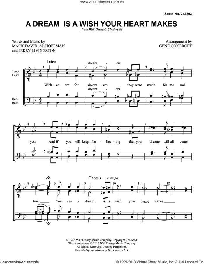 A Dream Is A Wish Your Heart Makes (from Cinderella) (arr. Gene Cokeroft) sheet music for choir (TTBB: tenor, bass) by Ilene Woods, Gene Cokeroft, Al Hoffman, Jerry Livingston and Mack David, intermediate skill level