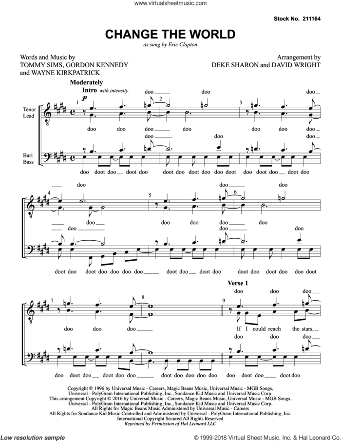 Change The World (arr. Deke Sharon, David Wright) sheet music for choir (TTBB: tenor, bass) by Eric Clapton, David Wright, Deke Sharon, Gordon Kennedy, Tommy Sims and Wayne Kirkpatrick, intermediate skill level