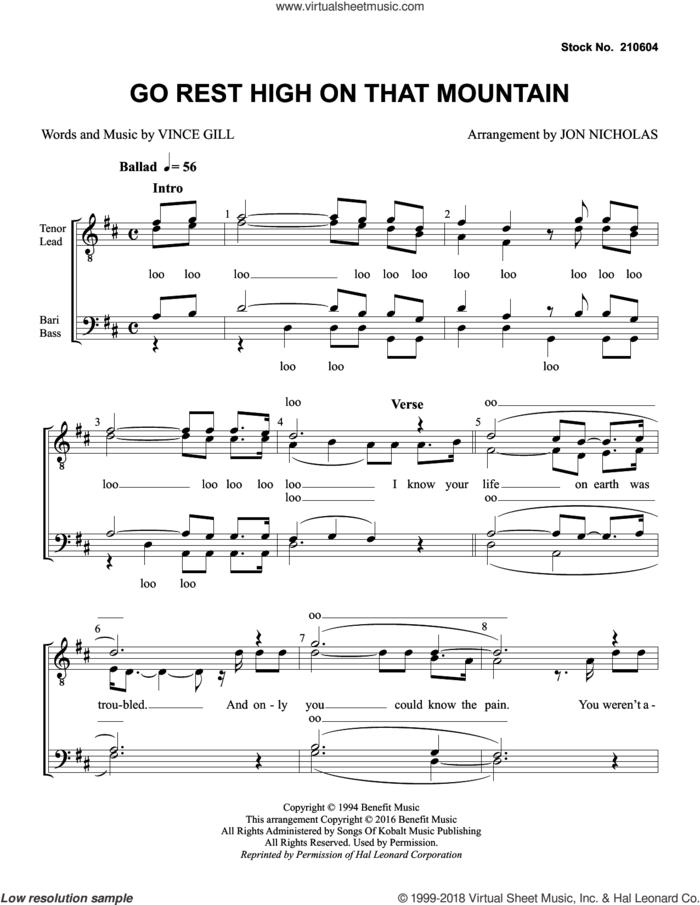 Go Rest High on That Mountain (arr. Jon Nicholas) sheet music for choir (TTBB: tenor, bass) by Vince Gill, Jon Nicholas and Vincent Gill, intermediate skill level