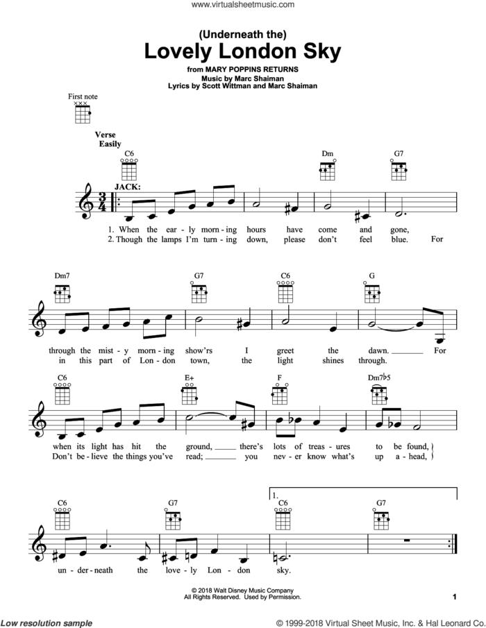 (Underneath The) Lovely London Sky (from Mary Poppins Returns) sheet music for ukulele by Lin-Manuel Miranda, Marc Shaiman and Scott Wittman, intermediate skill level