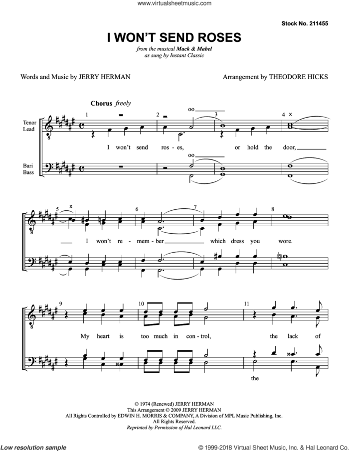 I Won't Send Roses (from Mack and Mabel) (arr. Theodore Hicks) sheet music for choir (TTBB: tenor, bass) by Instant Classic, Theo Hicks and Jerry Herman, intermediate skill level