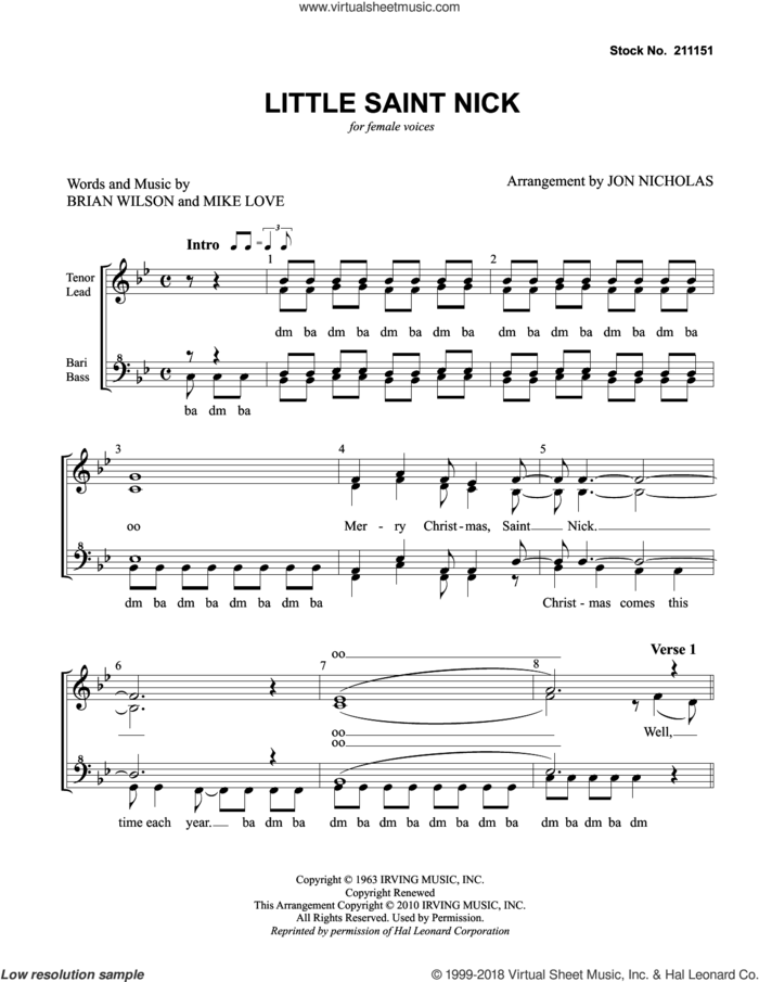 Little Saint Nick (arr. Jon Nicholas) sheet music for choir (SSAA: soprano, alto) by The Beach Boys, Jon Nicholas, Brian Wilson and Mike Love, intermediate skill level
