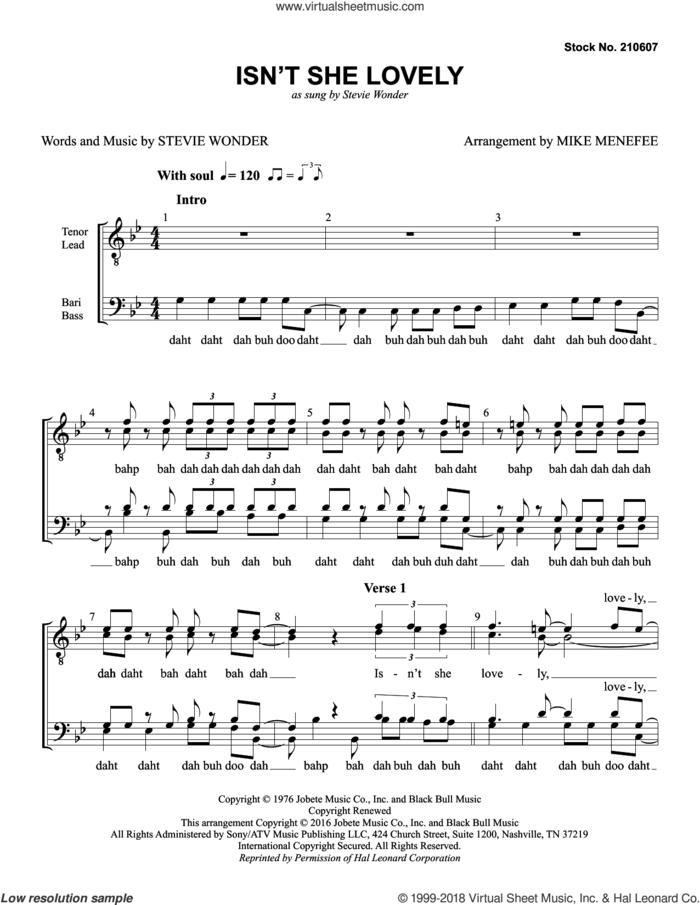 Isn't She Lovely (arr. Mike Menefee) sheet music for choir (TTBB: tenor, bass) by Stevie Wonder and Mike Menefee, intermediate skill level