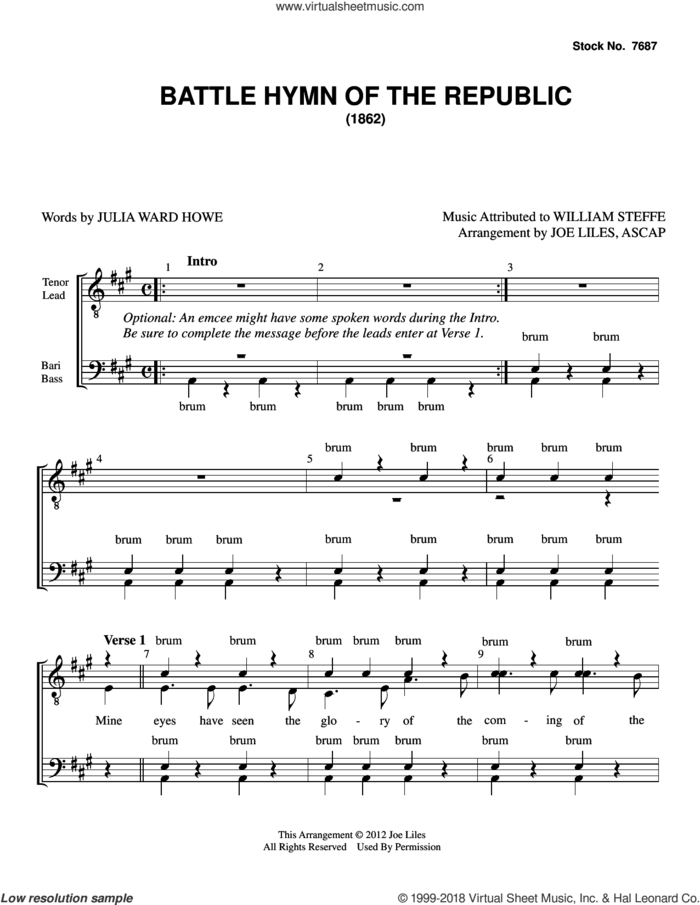 The Battle Hymn of the Republic (arr. Joe Liles) sheet music for choir (TTBB: tenor, bass) by Julia Ward Howe, Joe Liles and William Steffe, intermediate skill level
