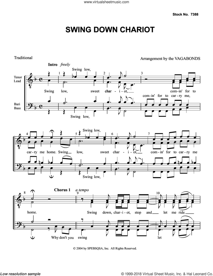 Swing Down Chariot (arr. The Vagabonds) sheet music for choir (TTBB: tenor, bass) by The Vagabonds and Miscellaneous, intermediate skill level