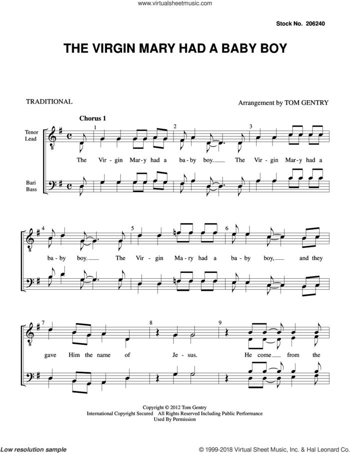 The Virgin Mary had a Baby Boy (arr. Tom Gentry) sheet music for choir (TTBB: tenor, bass)  and Tom Gentry, intermediate skill level